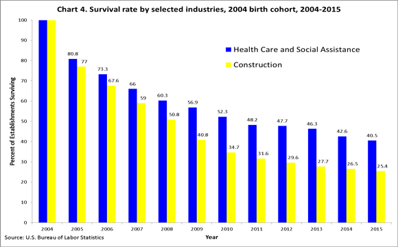Chart 4. Survival rate by selected industries, 2004 birth cohort, 2004�2015