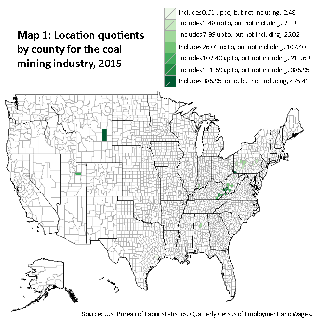 A map of the United States showing the location quotients by county for the coal mining industry, 2015. Source: U.S. Bureau of Labor Statistics, Quarterly Census of Employment and Wages.