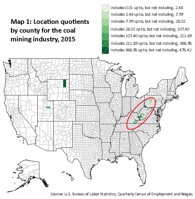 A map of the United States showing the location quotients for the coal mining industry, 2015. Source: U.S. Bureau of Labor Statistics, Quarterly Census of Employment and Wages.