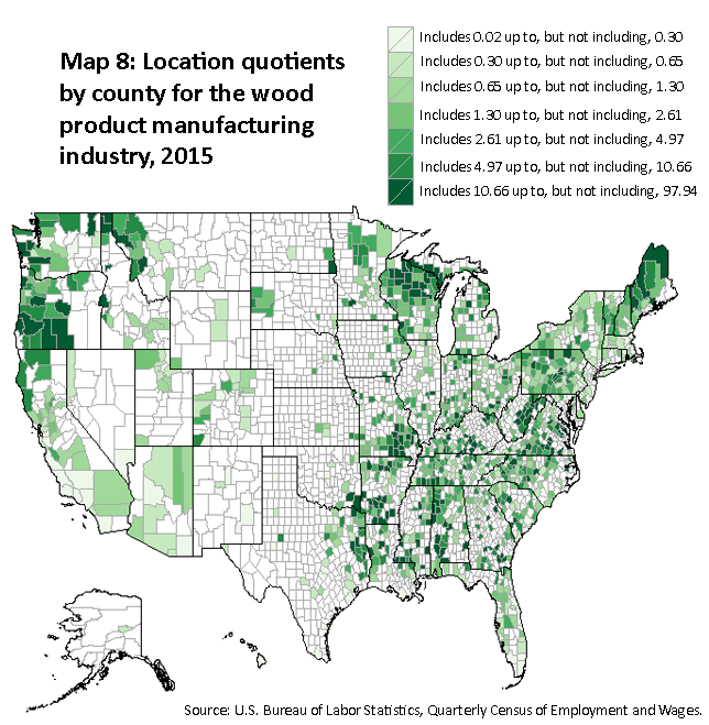 A map of the United States showing the location quotients by county for the wood product manufacturing industry, 2015. Source: U.S. Bureau of Labor Statistics, Quarterly Census of Employment and Wages.