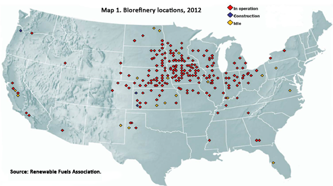 Biorefinery locations, 2012