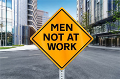 Men not at work traffic sign in middle of city street