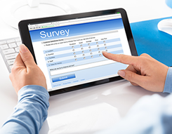 Image of survey respondent entering responses online