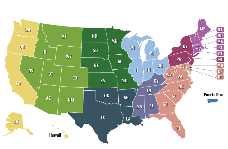 States by 9 Regions with Labels