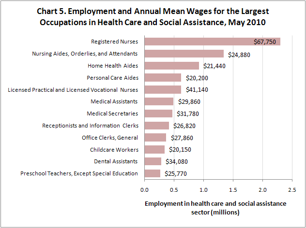 Chart 5. Employment and Annual Mean Wages for the Largest Occupations in Health Care and Social Assistance, May 2010