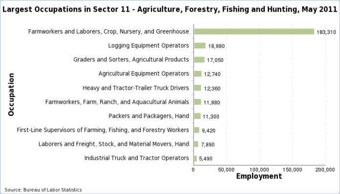 Charts of the largest occupations in each industry, May 2013