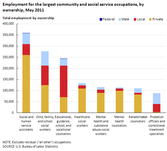 Employment for the largest community and social service occupations, by ownership, May 2011