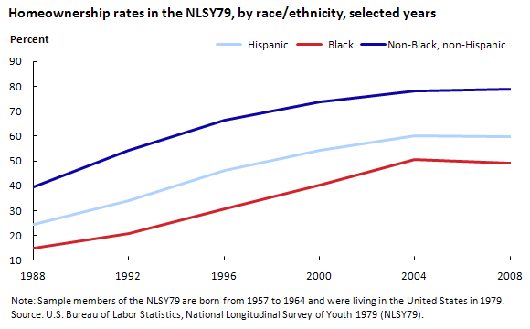Homeownership rates in the NLSY79, by race/ethnicity, selected years (in percent)