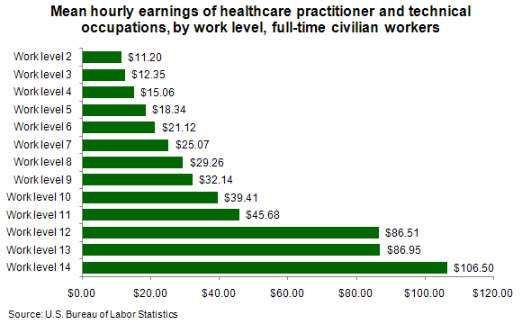 Mean hourly earnings of healthcare practitioner and technical occupations, by work level, full-time civilian workers