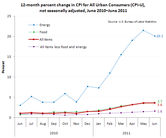 12-month percent change in CPI for All Urban Consumers (CPI-U), not seasonally adjusted, June 2010 - June 2011