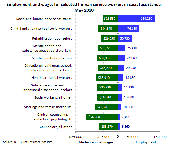 Employment and wages for selected human service workers in social assistance, May 2010