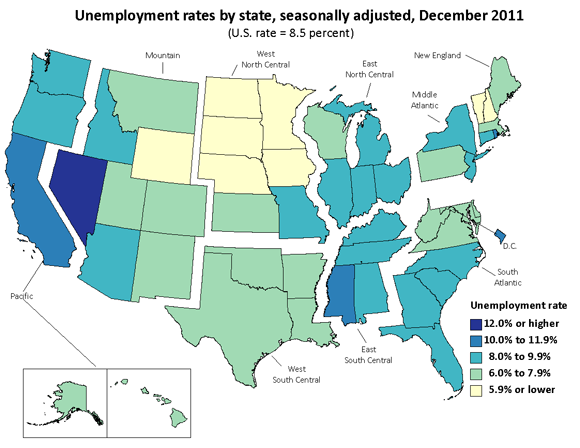 Unemployment rates by state, seasonally adjusted, December 2011