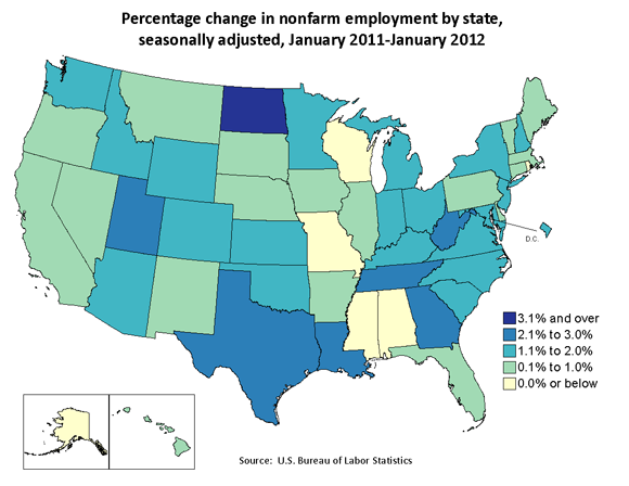Percentage change in nonfarm employment by state, seasonally adjusted, January 2011–January 2012