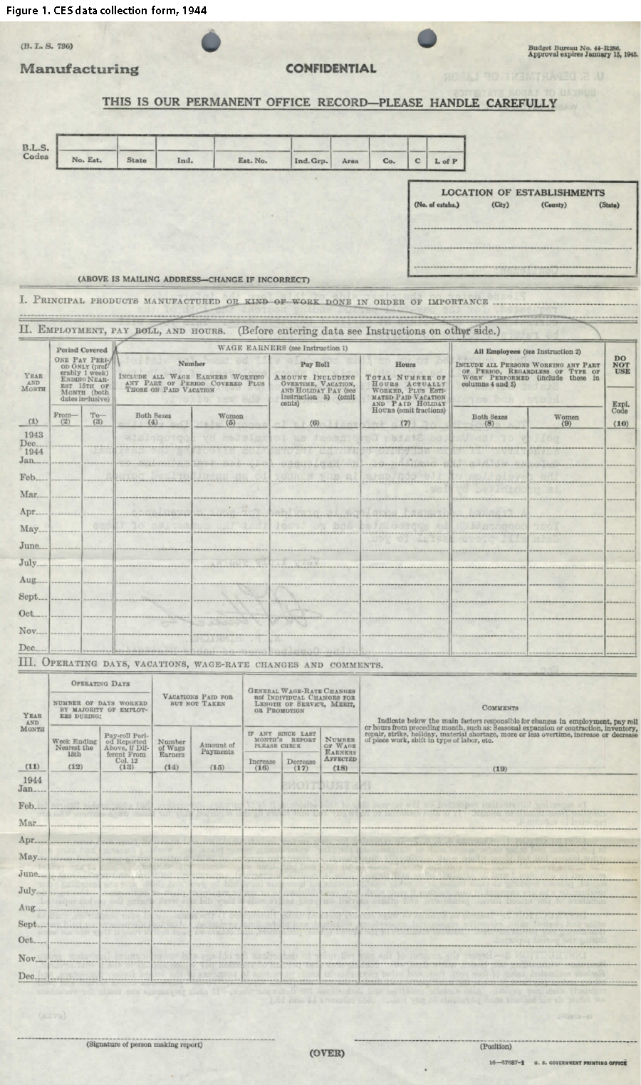 CES 1944 collection form