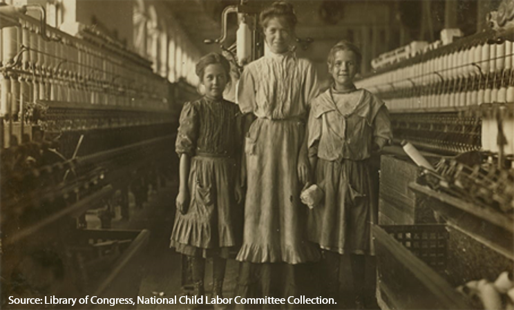 Young spinner girls and their mother at Rhodes Manufacturing Company in Lincolnton, North Carolina, November 1908.