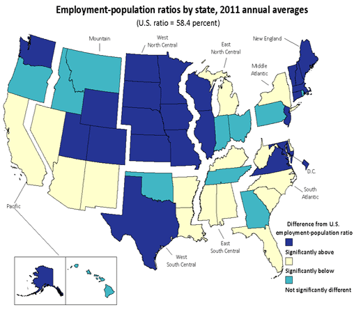Employment population ratios by state, 2011 annual averages (U.S. ratio = 58.4 percent)