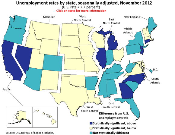 Unemployment rates by state, seasonally adjusted, November 2012 (U.S. rate = 7.7 percent)