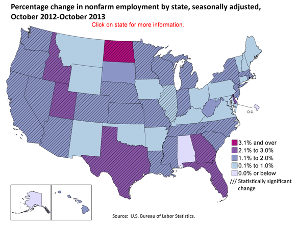 Percentage change in nonfarm employment by state, seasonally adjusted, October 2012-Octobery 2013