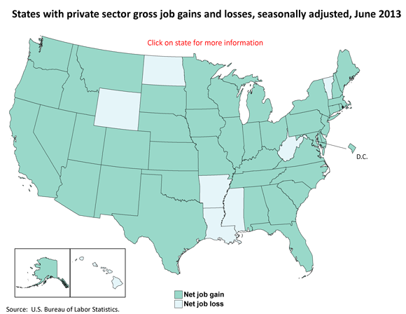 States with private sector gross job gains and losses, seasonally adjusted, June 2013