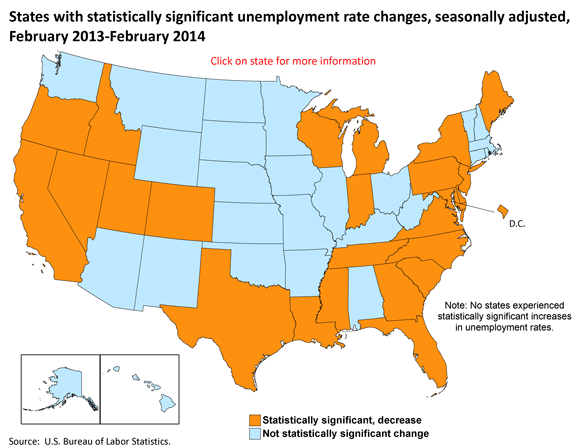 States with statistically significant unemployment rate changes, seasonally adjusted, February 2013-February 2014