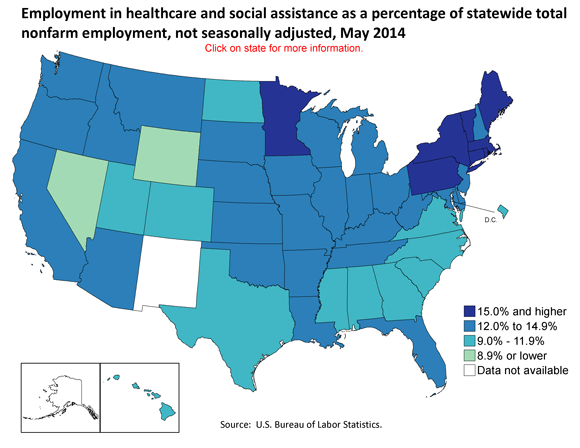 Employment in healthcare and social assistance as a percentage of statewide total nonfarm employment, May 2014