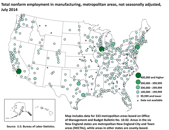 Total nonfarm employment in manufacturing, metropolitan areas, not seasonally adjusted, July 2014