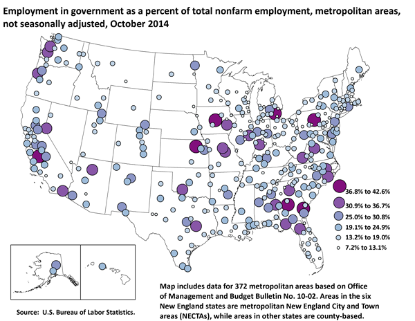Employment in government as a percent of total nonfarm employment, metropolitan areas, not seasonally adjusted, October 2014