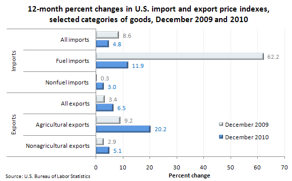 12-month percent changes in U.S. import and export price indexes, selected categories of goods, December 2009 and 2010