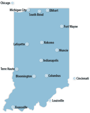 Indiana Area Map