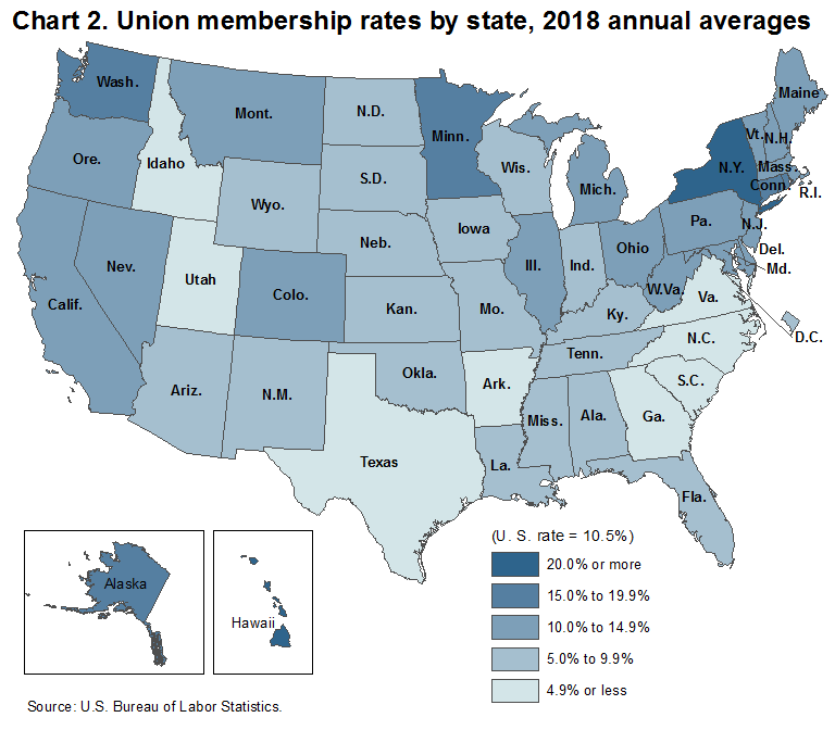 Chart 2.  Union membership rates by state, 2018 annual averages