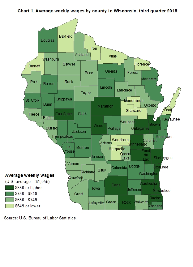 Chart 1.  Average weekly wages by county in Wisconsin, third quarter 2018