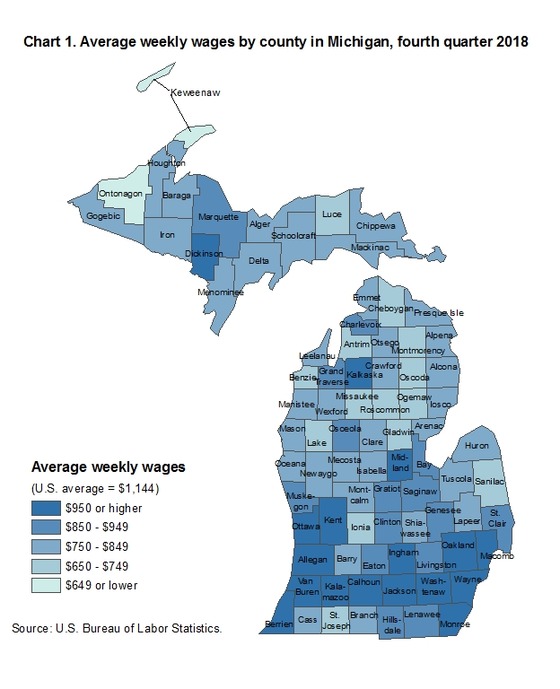Chart 1.  Average weekly wages by county in Michigan, fourth quarter 2018