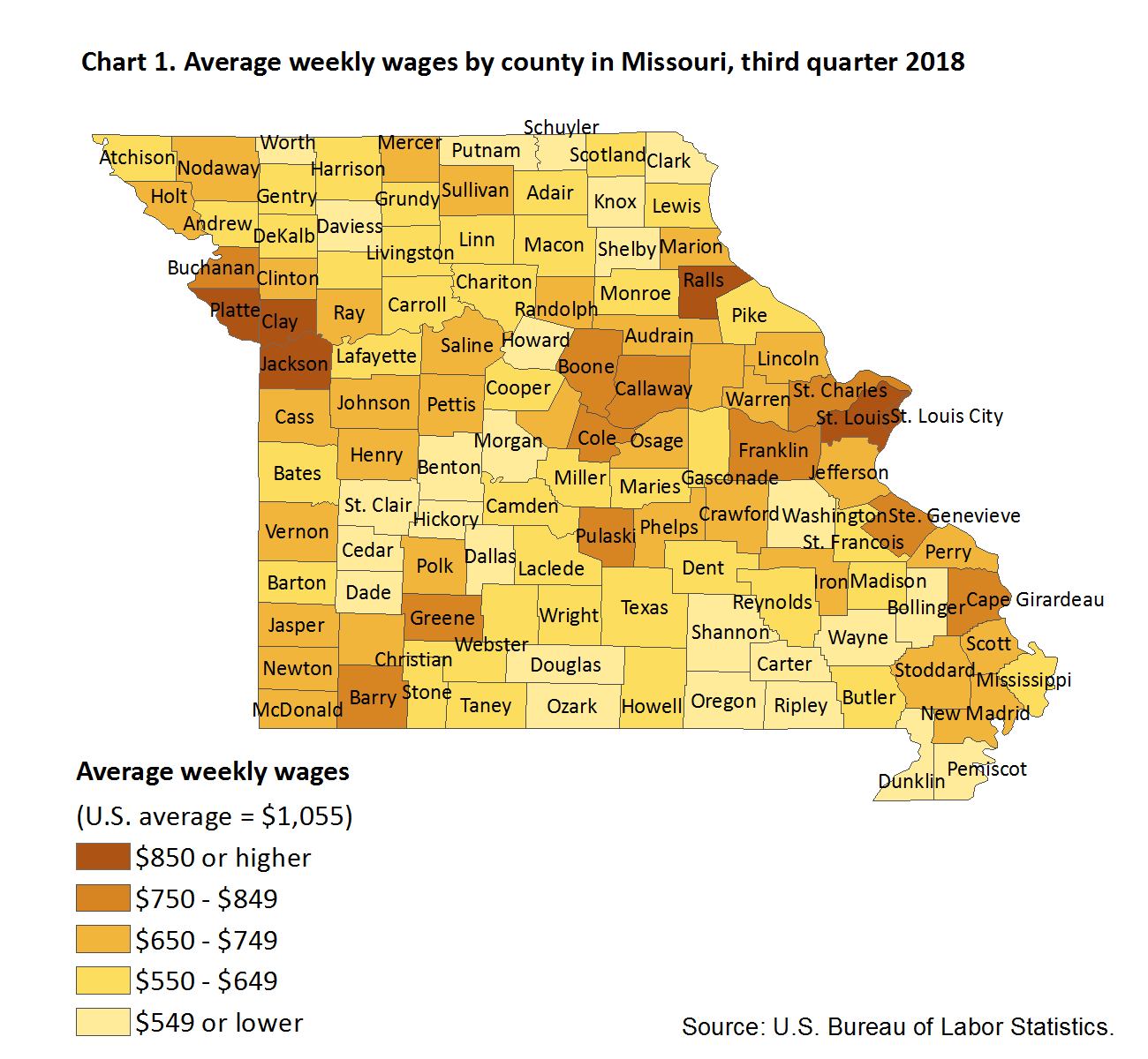 Chart 1. Average weekly wages by county in Missouri, third quarter 2018