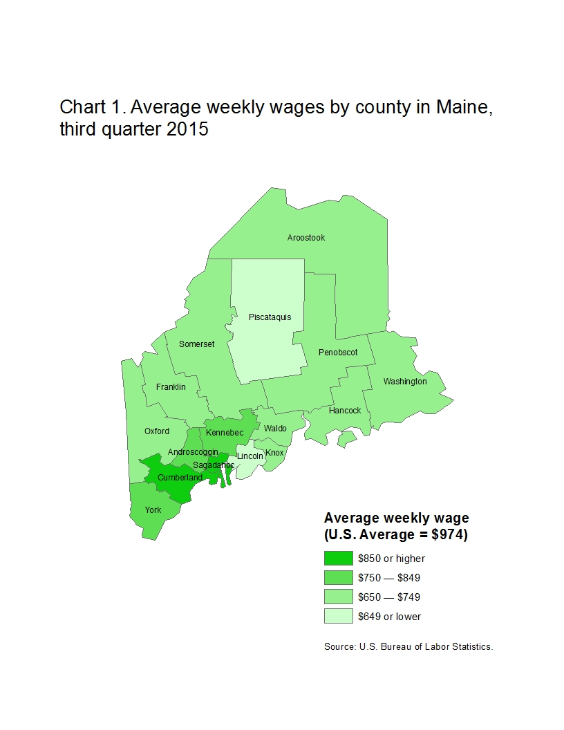 Chart 1. Average weekly wages by county in Maine, third quarter 2015