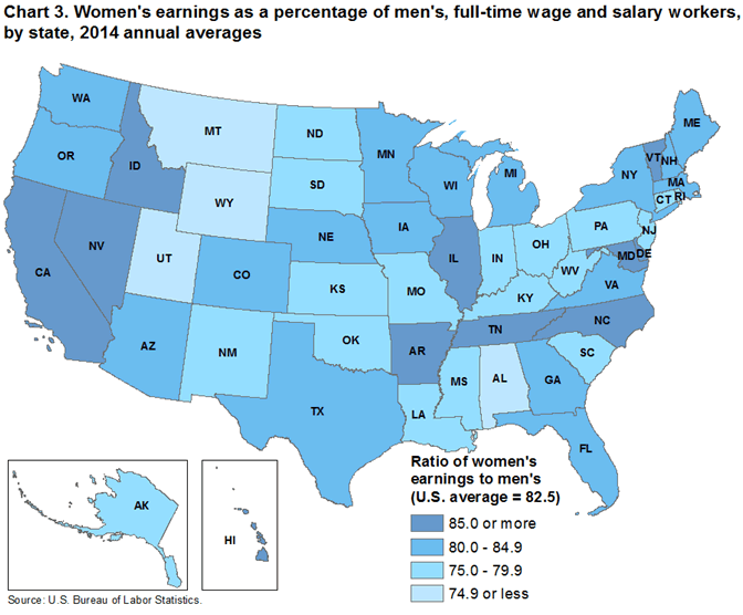 Chart 3. Women's earnings as a percentage of men's, full-time wage and salary workers, by state, 2014 annual averages