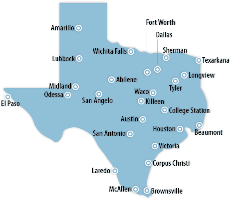 Texas Area Map