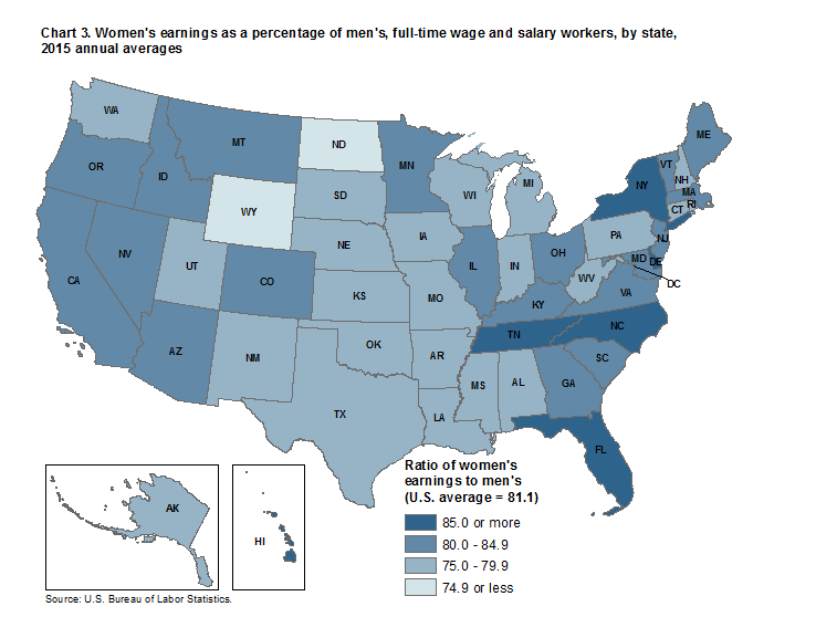 Chart 3. Women's earnings as a percentage of men's, full-time wage and salary workers, by state, 2015 annual averages