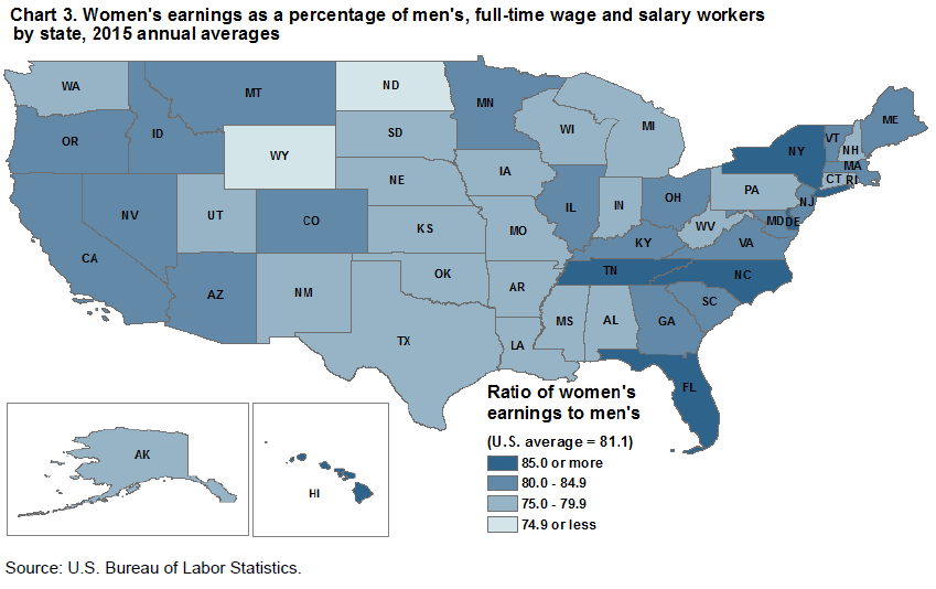 Women's earnings as a percentage of men's, full-time wage and salary workers by state, 2015 annual averages
