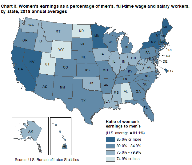 Chart 3. Women's earnings as a percent of men's, full-time wage and salary workers, by state, 2018 annual averages