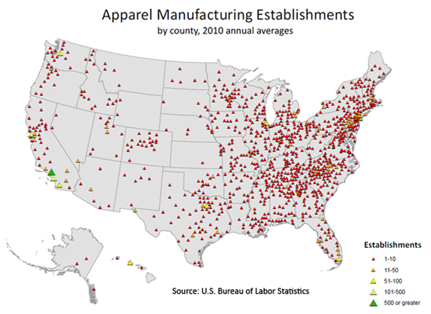 Apparel manufacturing establishments