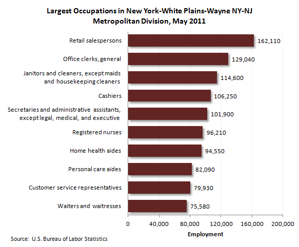 Largest occupations in New York-White Plains-Wayne NY-NJ Metropolitan Division